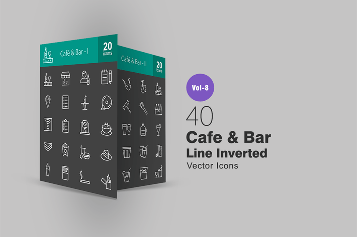 Thumbnail for 40 Cafe & Bar Line Inverted Icons