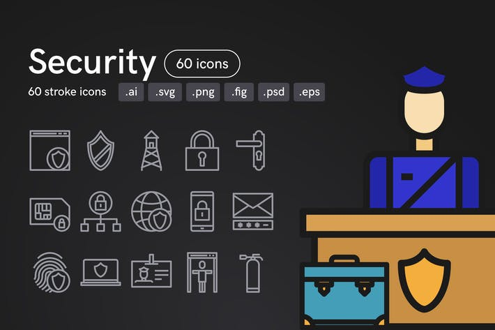 Thumbnail for Security Icons (60 Icons)