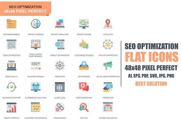 Thumbnail for Simple Set Seo and Web Optimization Flat Icons