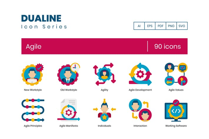 Thumbnail for 90 Agile Icons - Dualine Flat Series