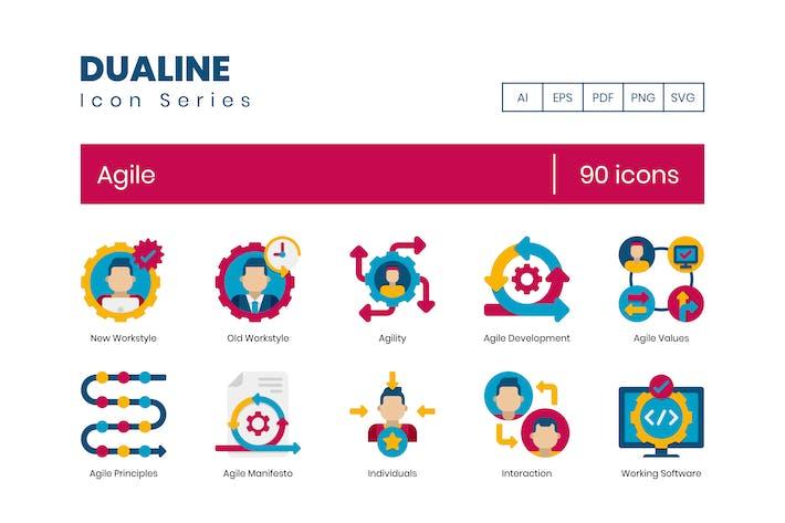 90 Agile Icons - Dualine Flat Series