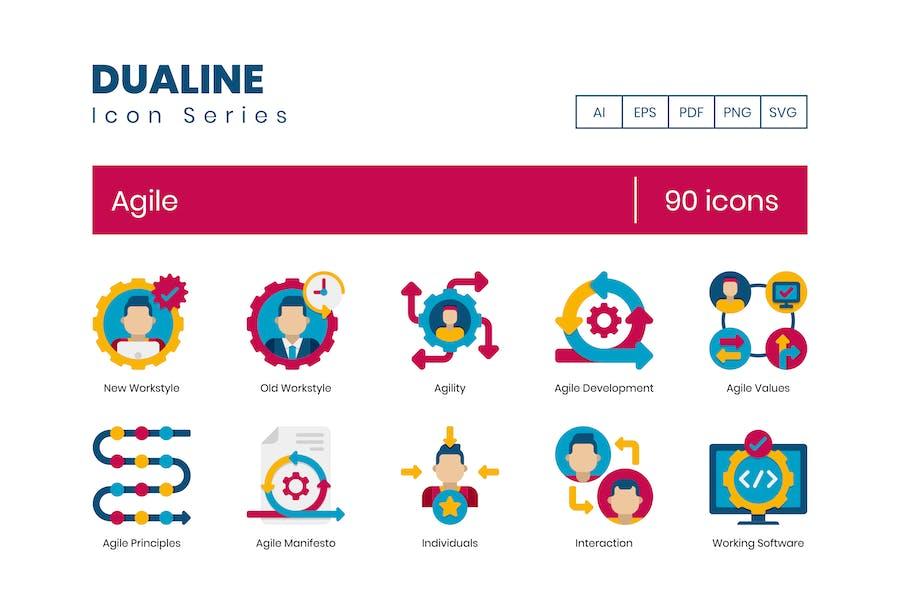 90 Agile Icons - Dualine Flat Serie