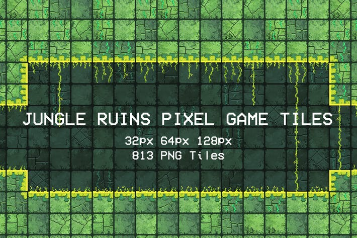 Jungle Ruins Pixel Game Tiles