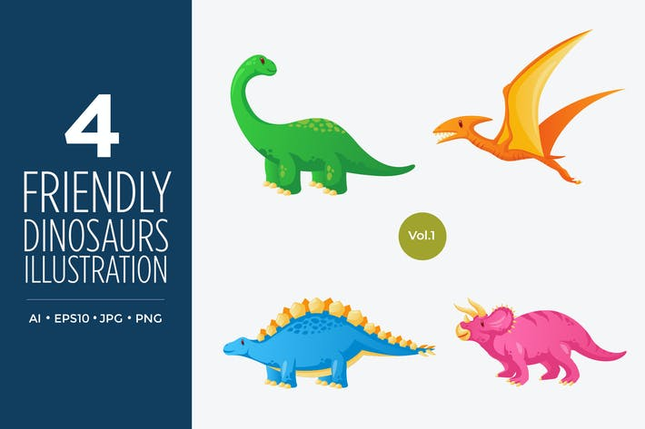 Thumbnail for Cute Ancient Dinosaurs Vector Character Set 1