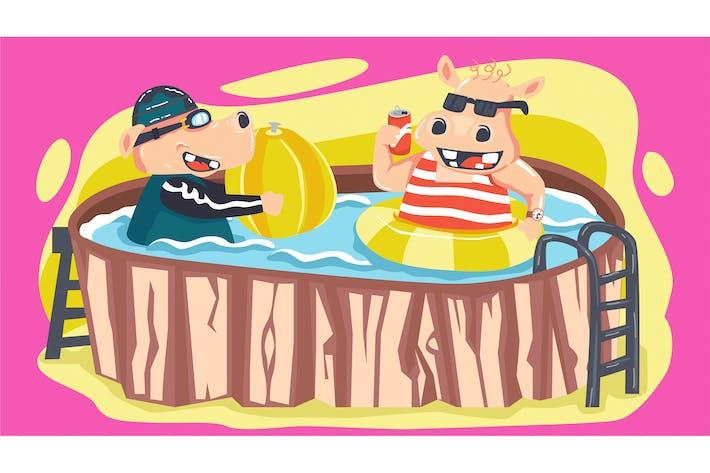 Thumbnail for Fabel Hippopotamus Bath Kids Illustration