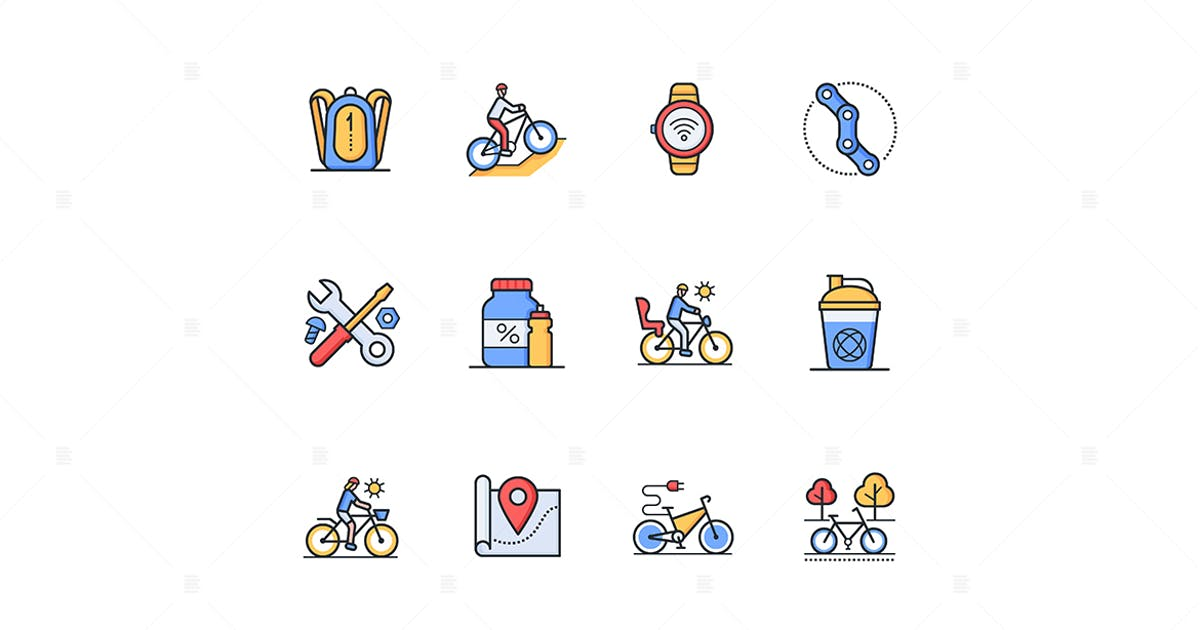 Download Cycling - Modern Line Design Style Icons Set by BoykoPictures