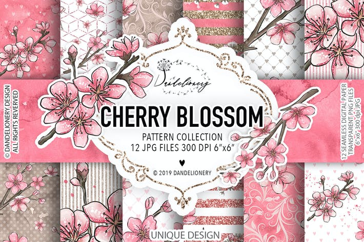 Thumbnail for Cherry Blossom Digitalpapier Pack