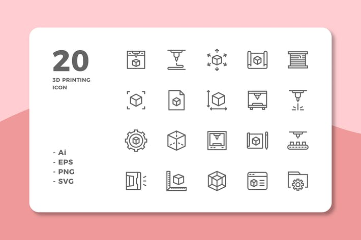 Thumbnail for 20 3D Printing Icons (Line)