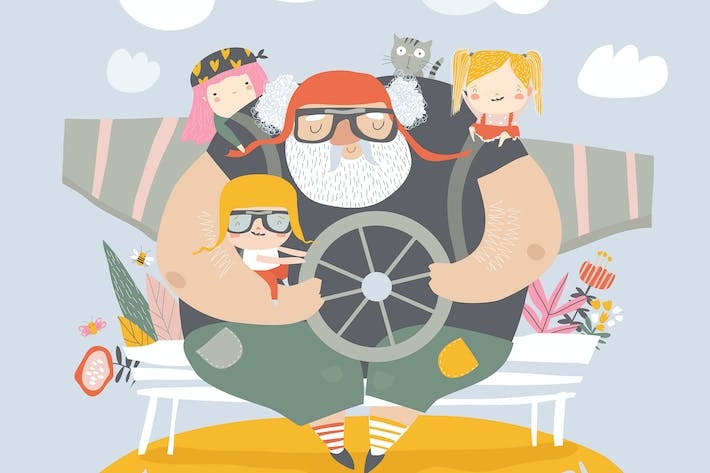 Thumbnail for Grandfather with grandchildren playing airplane