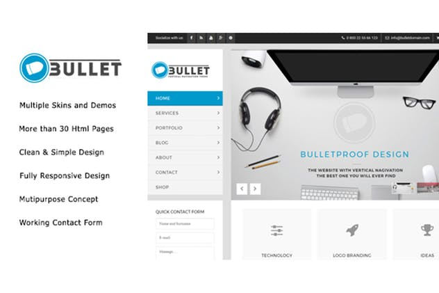 Bullet - Multipurpose Vertical Menu HTML Template