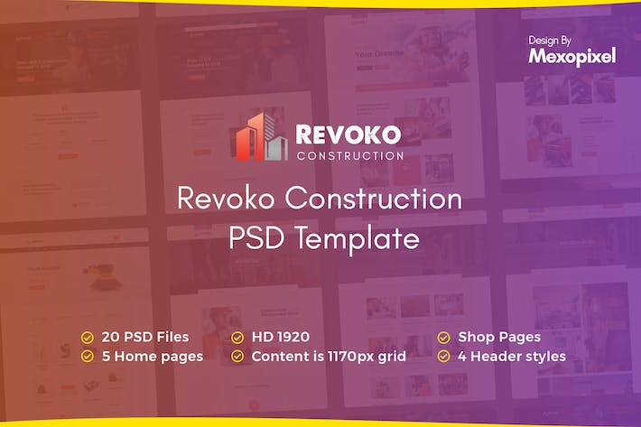 Thumbnail for Revoko - Construction PSD Template