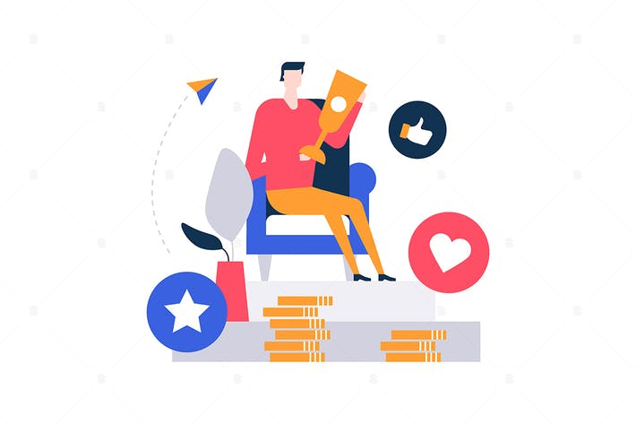 Thumbnail for Business victory - flat design style illustration