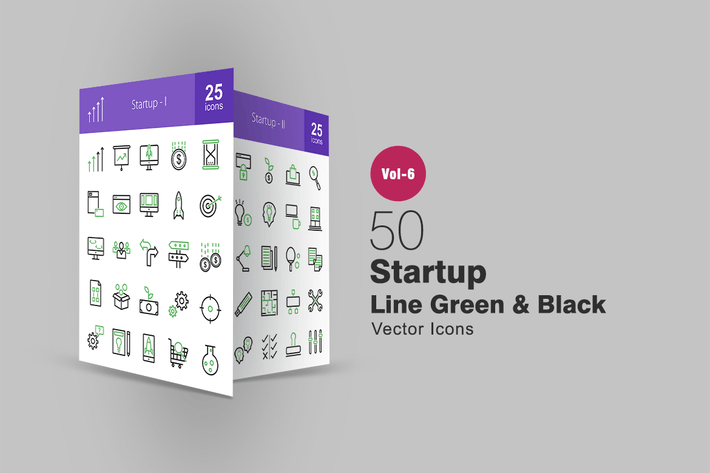 Thumbnail for 50 Startup Green & Black Line Icons