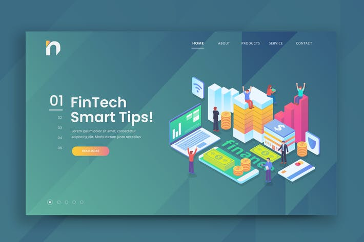 Thumbnail for Isometric Fintech Web PSD and AI Vector Template