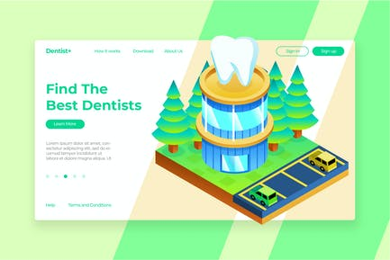 Dentist Isometric - Banner & Landing Page