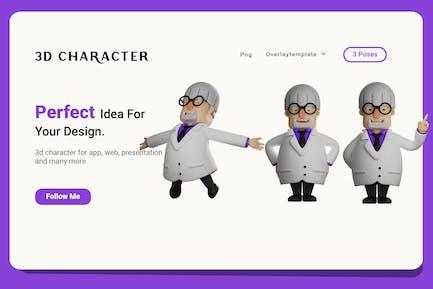 3D Professor Cartoon Design with three pose