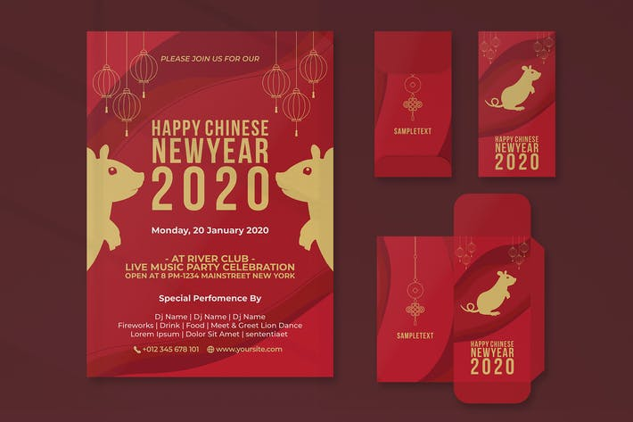 Thumbnail for Chinese New Year Invitation Flyer and Red Packet