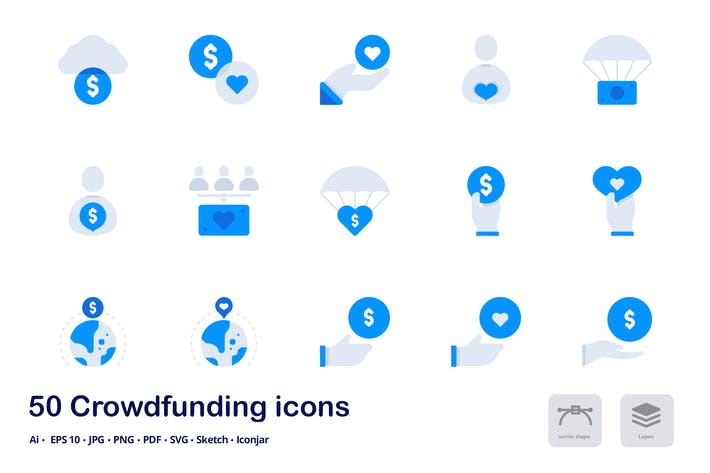 Thumbnail for Crowdfunding Accent Duo Tone Flat Icons