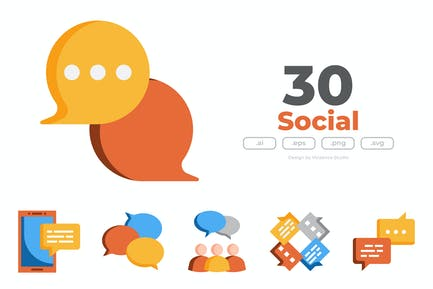 30 Social Communication Icons - FLAT