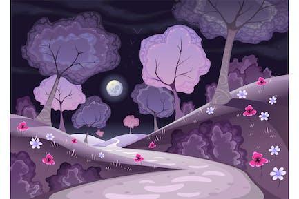 Landschaft mit Bäumen und Pfad in der Nacht