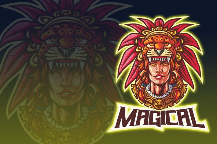 Cover Image For Aztec Tribal Woman Esport Logo