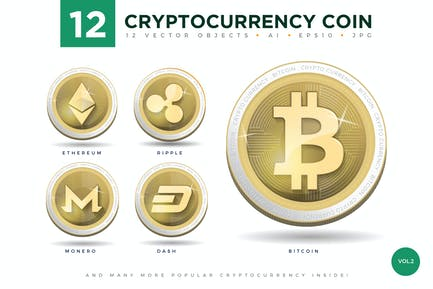 12 Crypto Currency Coin Vector Illustration Set 2