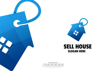 Sell House Gradient Logo Template