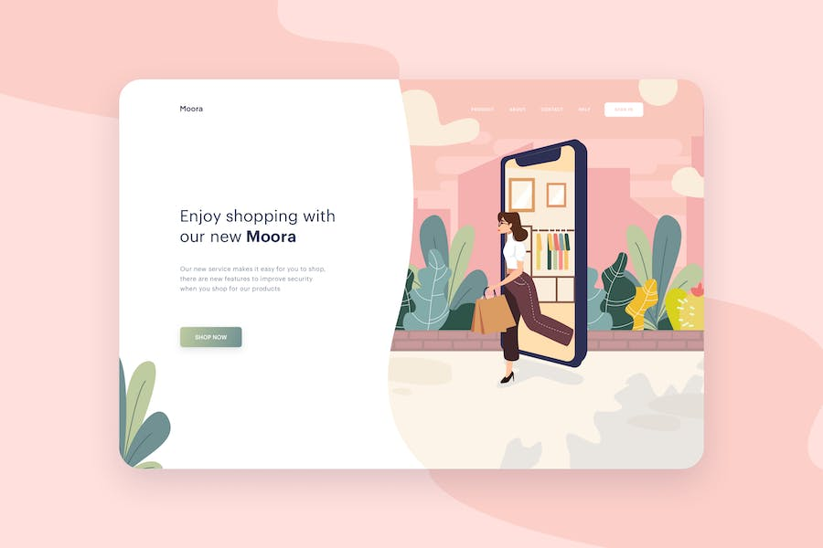 Shopping With App Illustration - Website Header