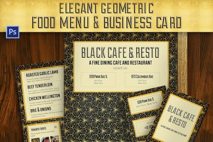 Thumbnail for Elegant Geometric Food Menu & Business Card