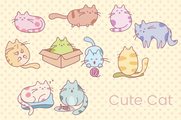 Thumbnail for Cute Cat Hand Drawn