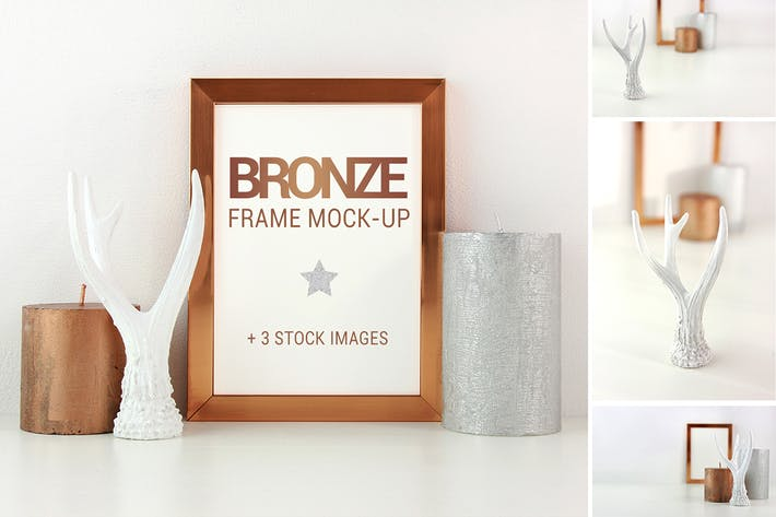Cover Image For Bronze frame mockup + stock photos