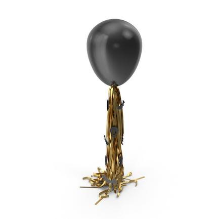 Halloween Schwarzer Ballon mit goldener Quaste Girlande