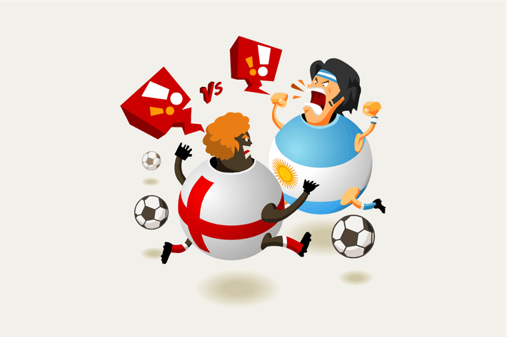 Cover Image For England VS Argentina always hot. Vector Illustrati