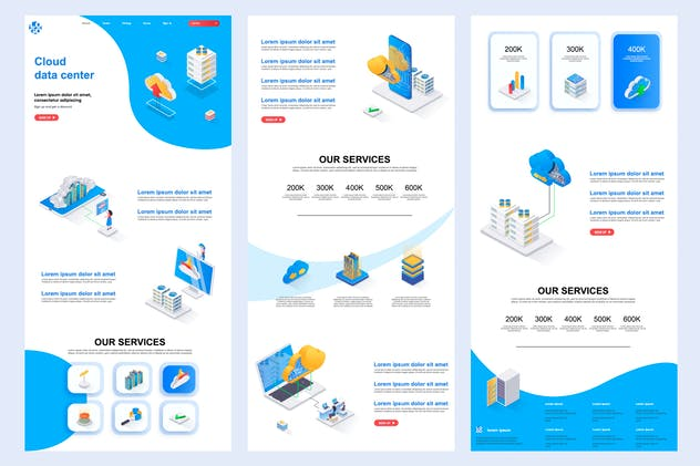 Cloud Data Center Isometric Landing Page Template