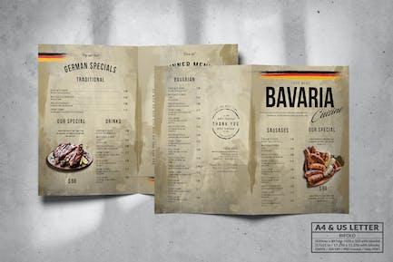 Bavaria Bifold Food Menu Design A4 & US Letter