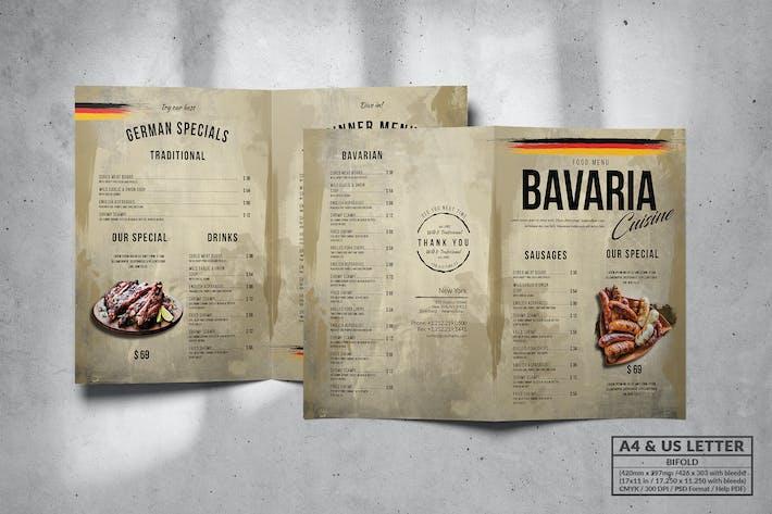Thumbnail for Bavaria Bifold Food Menu Design A4 & US Letter