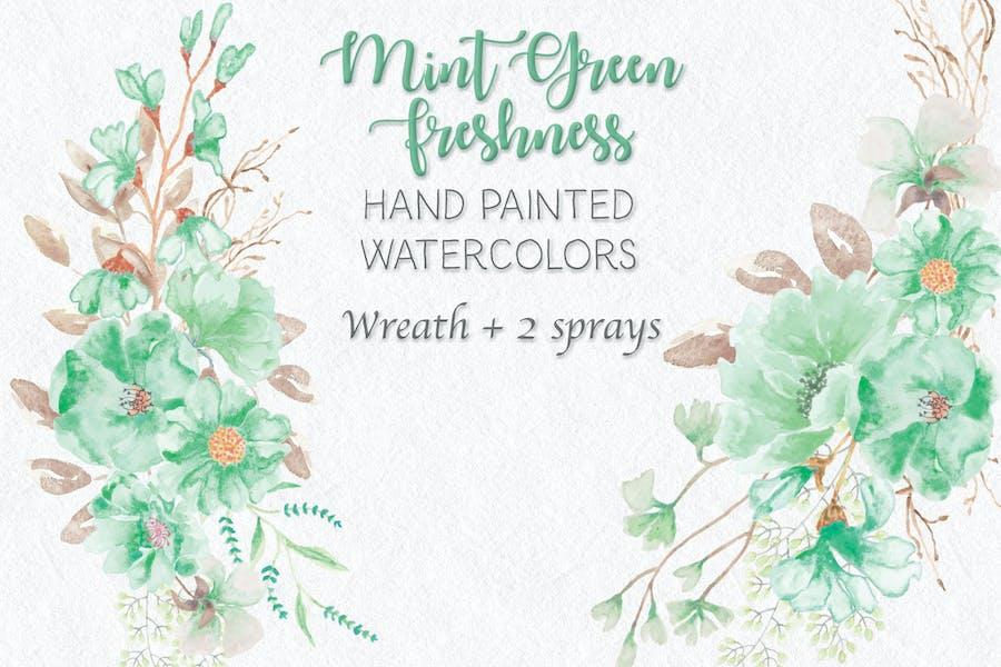 Mint Green Freshness: Wreath and Sprays