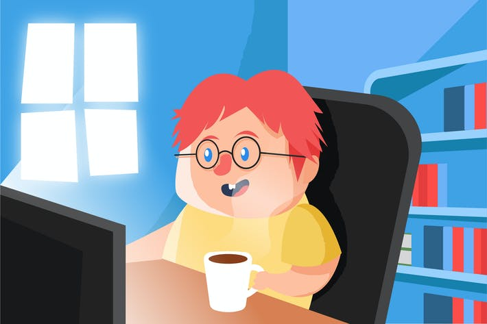 Thumbnail for Boy with Coffee - Vector illustration