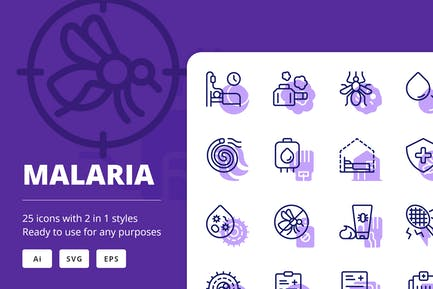 Malaria Icons (Line and Solid)