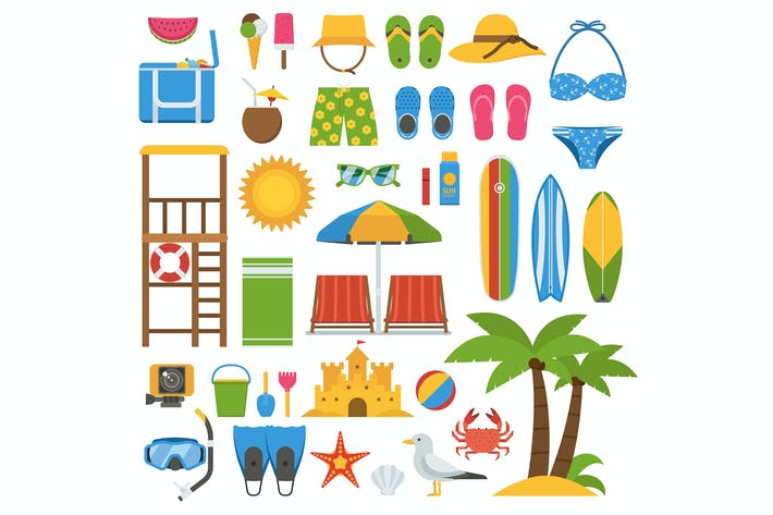 Thumbnail for Summer Beach Icons and Elements Set