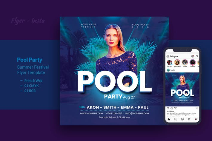 Thumbnail for Pool Party Summer Festival Flyer Template