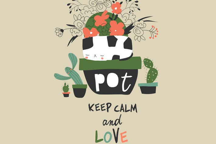 Cute funny cat sitting in a flower pot. Cartoon