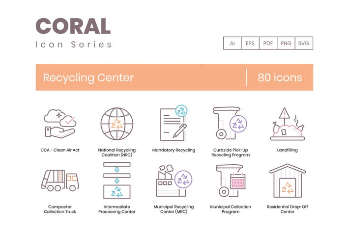 Thumbnail for 80 Recycling Center Icons - Coral Series