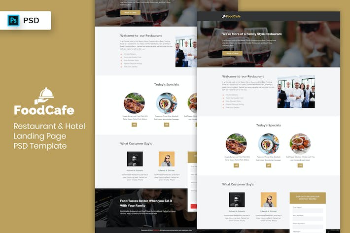 Thumbnail for Restaurant & Hotel - Landing Page PSD Template