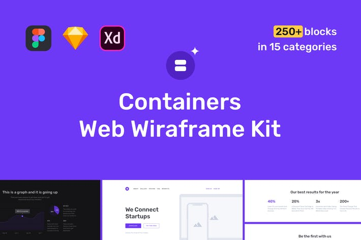 Thumbnail for Containers Web Wireframe Kit