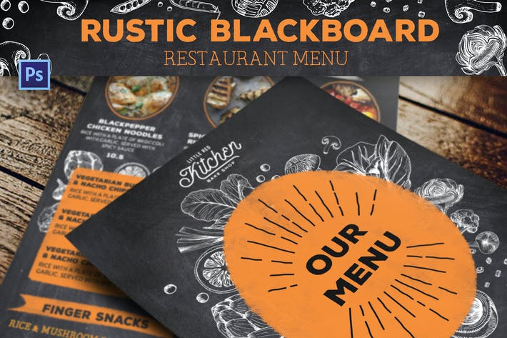 Thumbnail for Rustic Blackboard Restaurant Menu