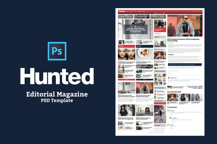 Thumbnail for Hunted - Editorial Magazine PSD Template