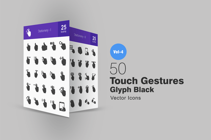 Thumbnail for 50 Touch Gestures Glyph Icons