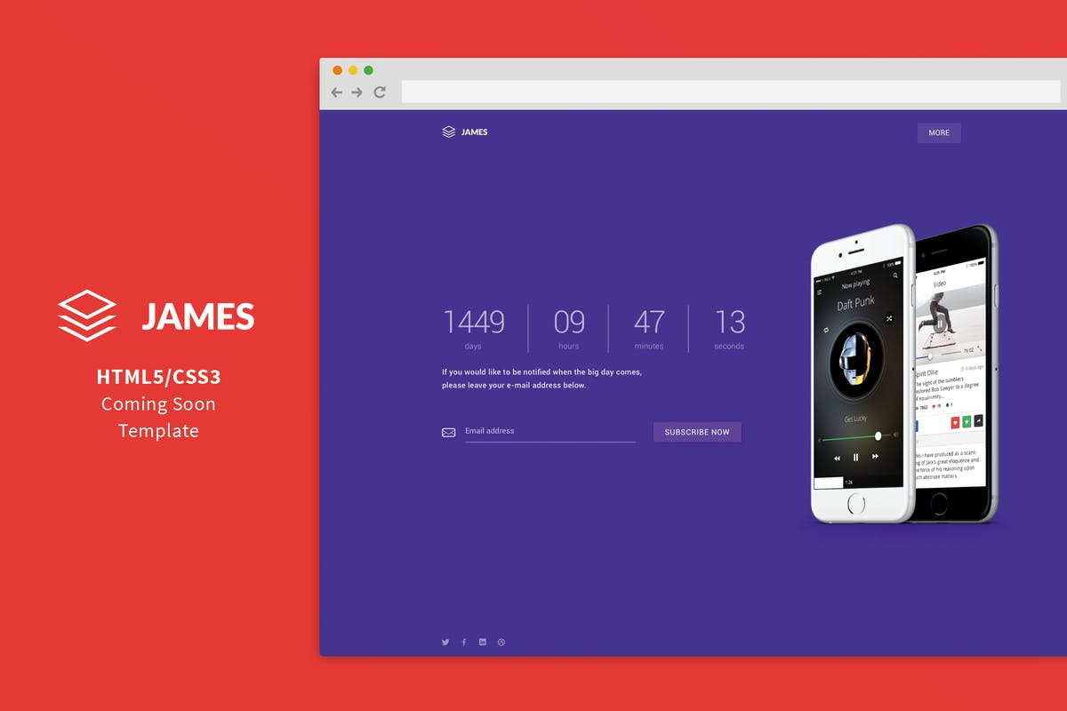 James Material Design Coming Soon Template By Shegy On Envato Elements