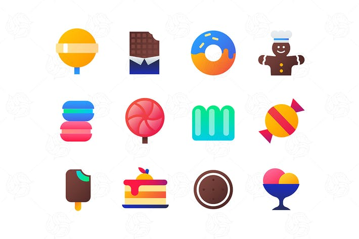 Thumbnail for Sweets - set of flat design style icons
